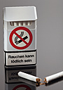 No smoking sign on cigarette packetwith broken cigarette - WBF000247