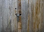 Germany, Vechelde, Close up of wooden doors with padlock - HKF000368