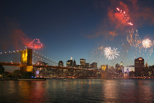 USA, New York, View of fireworks over hudson river at night - HKF000371
