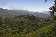 China, View of terraced rice field and farmhouses - HKF000316