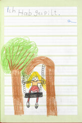 Germany, Munich, Child's drawing in exercise book - CRF001937