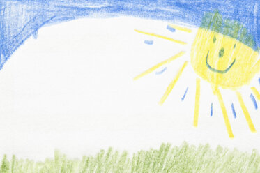 Germany, Munich, Child's drawing of nature in exercise book - CRF001946