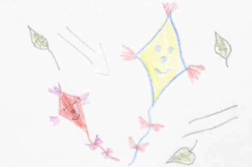 Germany, Munich, Child's drawing of kites in exercise book - CRF001949