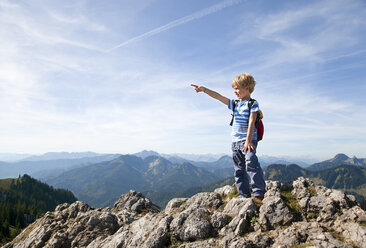Germany, Bavaria, Boy (4-5 Years) on mountain summit looking at view - HSIF000024