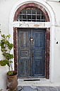 Greece, Cyclades, Thira, Santorini, Closed old wooden door - FOF002838
