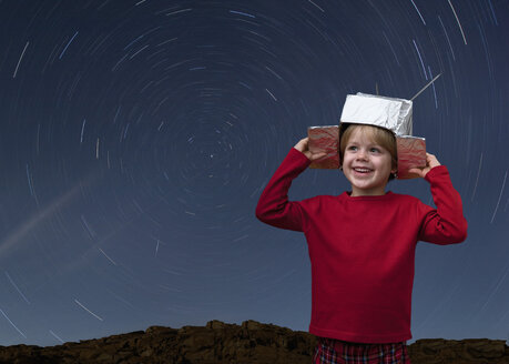 Croatia,Boy with space hat and star trail in the sky - HSIF000065