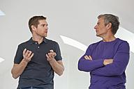Germany, Bavaria, Men talking - NHF001276
