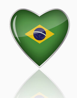 Brazilian flag in heart shape on white background - TSF000068