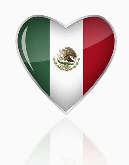Mexican flag in heart shape on white background - TSF000089