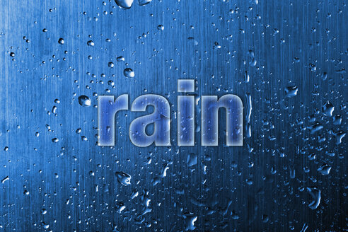Text on metallic background with water drops, close up - TSF000117
