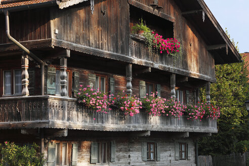 Germany, Upper Bavaria, Bavaria, Wooden balcony of farmhouse with geraniums - SIEF000258