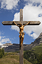 Switzerland, Valais, Leukerbad, View of jesus cross with mountain in background - GWF001397