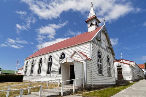 South Atlantic, United Kingdom, British Overseas Territories, East Falkland, Falkland Islands, Falklands, Port Stanley, Stanley, View of st marys church - FO003221