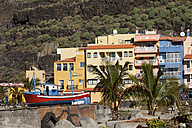 Spain, Canary Islands, La Palma, View of buildings with palm trees - SIEF000792