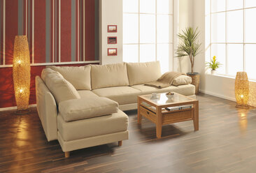 View of modern living room with wooden floor - WBF001040