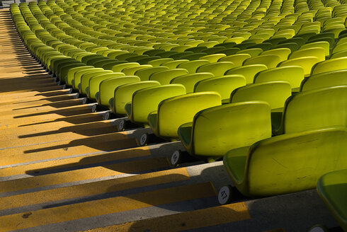 Germany, Bavaria, Munich, View of green seats in olympic stadium - PS000434