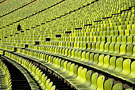 Germany, Bavaria, Munich, View of green seats in olympic stadium - PS000436