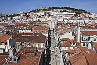 Portugal, Estremadura, Lisbon, View over baixa district with sao jorge castle in background - PSF000473