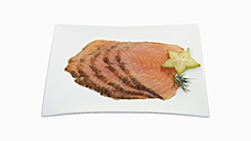 Plate of smoked salmon on white background - WBF001076