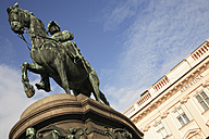 Austria, Vienna, View of statue of the Archduke Albert with Albertina Museum - PSF000488