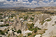 Turkey, Cappadocia, Goreme, View of rock formation with buildings - PSF000509