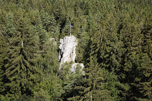 Germany, Bavaria, Lower Bavaria, Bavarian Forest, Regen, View of Pfahl rock - SIE001295