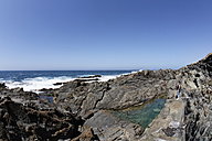 Spain, Canary Islands, Fuerteventura, Aguas Verdes, Rockpool coast in playa del valle - SIEF001258
