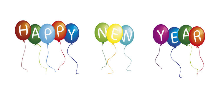 Happy new year on colourful balloons against white background - TSF000230