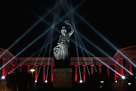 Germany, Bavaria, Munich, Illuminated bavaria statue and hall of fame during oktoberfest at night - FO003335