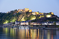 Koblenz, View of  fortress Ehrenbreitstein in evening light with river rhine - MSF002451