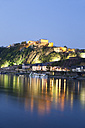 Koblenz, View of  fortress Ehrenbreitstein in evening light with river rhine - MSF002453