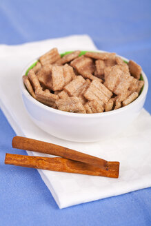 Close up of cinnamon cereal chips in bowl with cinnamon stick - TSF000237
