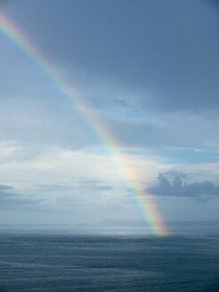 Southern Italy, Amalfi Coast, Piano di Sorrento, View of beautiful rainbow in sea at dawn - LFF000296