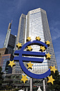 Europe, Germany, Hesse, Frankfurt, View of euro symbol in front of European Central Bank - CSF014916