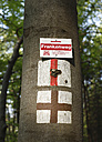 Germany, Bavaria, Franconia, Upper Franconia, Franconian Switzerland, Close up of hiking trail signs on tree trunk - SIE001502