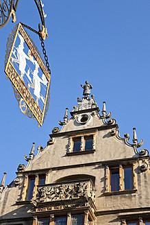 France, Alsace, Colmar, View of Maison des Tetes building with butcher's sign - WD000897