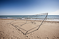 Turkey, Belek, View of broken tent frame on beach - KJF000102