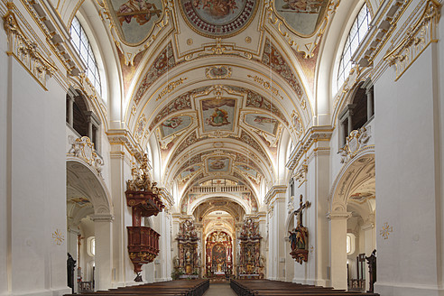 Germany, Bavaria, Swabia, Allgaeu, Kempten, View of interior of St. Lorenz basilica - SIE001637