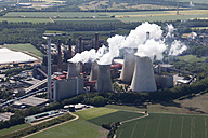 Europe, Germany, North Rhine-Westphalia, Neurath, Aerial view of lignite surface mining power plant - CS015314