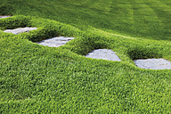 Germany, View of neatly manicured lawn with stepping stones - CSF015381