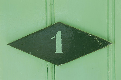 Italy, Forte dei Marmi, Close up of number one on door - FFF001209