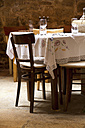Croatia, Rovinj, View of empty restaurant - MBE000165