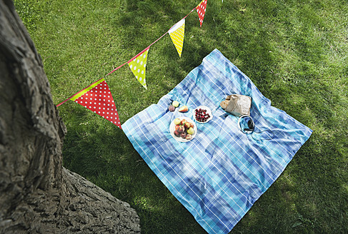 Italy, Tuscany, Picnic blanket with food and flag line above it - PDF000156