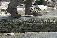 Lungau, Austria, Hiker walking on log above creek - ASF004443