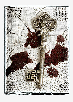 Collage of old key on blood stained cloth - AWD000650