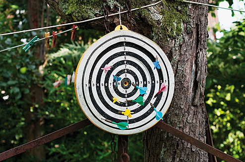 Germany, Hessen, Frankfurt, Dartboard with darts on tree trunk - MUF001123
