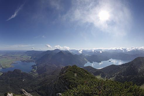 Germany, Bavaria, Upper Bavaria, View of lake walchensee and lake kochelsee - SIEF001916