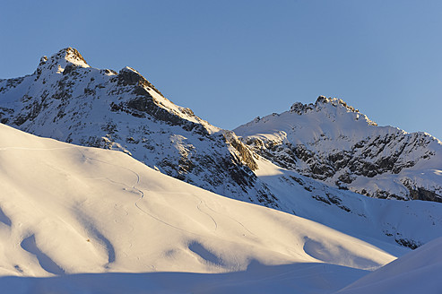 Austria, Zuers, Ski tracks in snow - MIRF000329