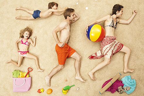 Germany, Artificial beach scene with family and beach toys - BAEF000308