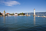 Germany, Bavaria, Lindau,  View of light house with city - WDF001063